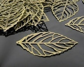 Antique Brass Plated Leaf Pendant 54x31mm - 30 pcs