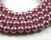 8mm Antique Rose Glass Pearl Beads - full strand 16 inch