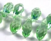 Peridot Green Crystal Glass Faceted Briolette Teardrops, 7X14MM - 4 pcs
