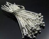 50 pc 24 gauge Silver Plated Ball Headpins, 2 inch, 1.5mm ball