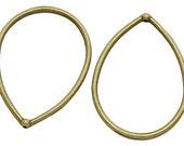 4 pcs Tibetan Antique Brass Pendant, Lead and Nickel Free, Teardrop with hole, 44.5x33mm