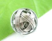 15mm Tarnish-Resistant Platinum Ball of Yarn Beads - 4 pcs
