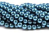 10mm Dark Teal Glass Pearl Beads - full strand 16 inch