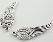 SMALL Tibetan Antique Silver  Wing Pendant, Lead, Nickel and Cadmium Free, 17x5mm - 20 pcs