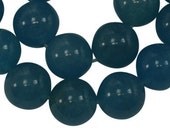 8mm Teal Blue Round Jade Beads,7.5 inch half strand (approx. 25 beads)
