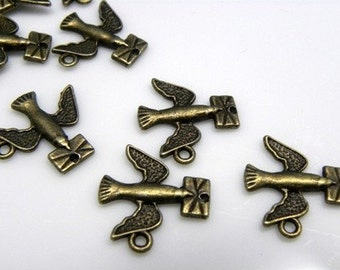 20 pcs - Antique Brass Pigeon Bird with Letter Charm, Lead-Free