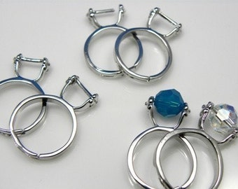 12 pcs - Adjustable Antique Silver Finger Ring Setting, Nickel-free, Lead-free, Add-A-Bead Design