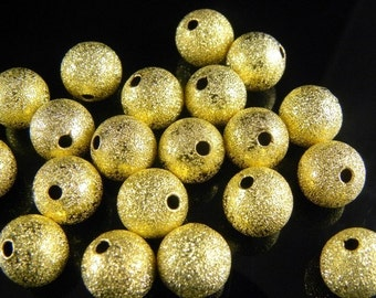 6mm Gold Plated Stardust Beads - 20 pcs