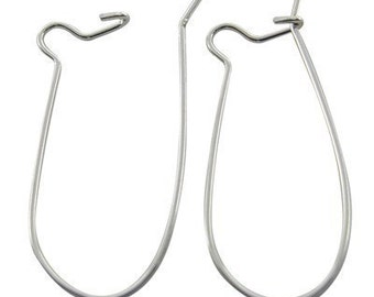 12pc - 28x12mm Silver Plated, Lead and Nickel Free Kidney Earwires