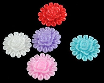 13mm Mixed Color Shimmer Flower Lucite Cabochons - 18 pcs