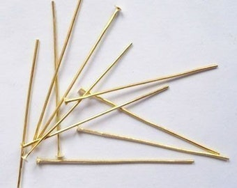 500 pcs, 20 gauge - Gold Plated Headpins, 1.5 inch