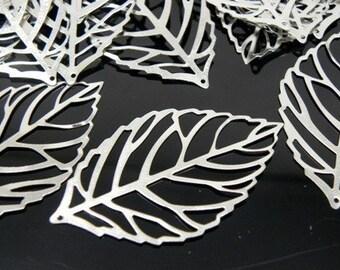 Silver Plated Leaf Pendant, 34x20x0.5mm - 100 pcs