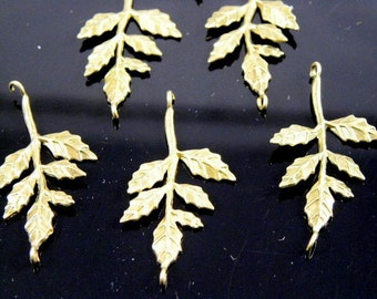 Gold Plated Leaf Tree Branch Pendant 30x20x3mm - 4 pcs