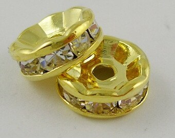 8mm Clear Crystal Rhinestone Gold Spacer Beads - 10 pcs