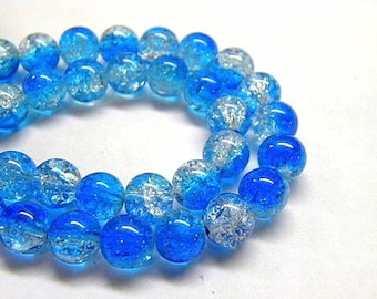 10mm Blue Fade Crackle Glass Beads - 6 inch