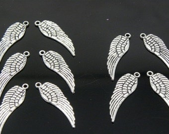 Tibetan Antique Silver Wing Pendant, Lead and Cadmium Free, 30x9.5mm - 10 pcs