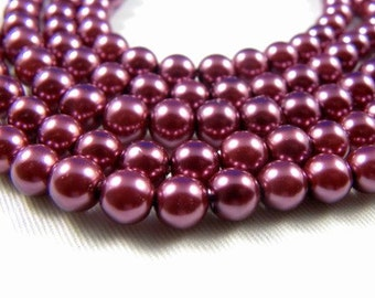 8mm Misty Mauve Glass Pearl Beads - full strand 16 inch