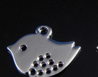 50 pcs - Silver Plated Sparrow Bird Charm Pendant 17mm