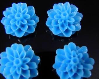 Light Blue 15mm Dahlia Chrysanthemum Lucite Flower Cabochons, 6 pcs