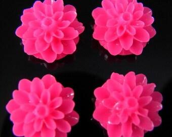 Hot Pink 15mm Dahlia Chrysanthemum Lucite Flower Cabochons, 6 pcs