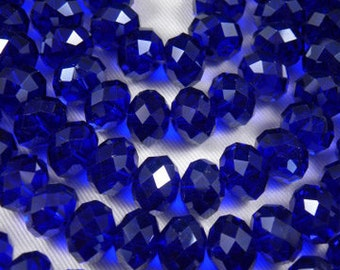 Buy any 4 Glass Rondelle Beads, get 1 FREE - Cobalt Blue Faceted Glass Rondelle Crystal Beads 12x8mm - 8 pieces