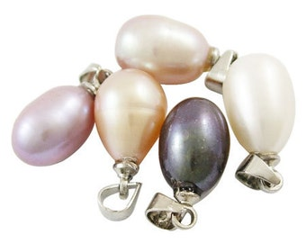 Large, Natural Freshwater Pearl Pendants, with Silver Bail, Drop, Multicolor, 15-16.5mm long, 8-9mm wide, hole: 3mm - 2 pcs
