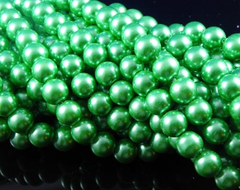 12mm Deep Green Glass Pearl Beads - full strand 16 inch