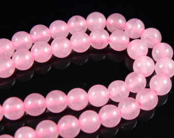 6mm LIGHT PINK Round Jade Beads, half strand (30-33 beads)