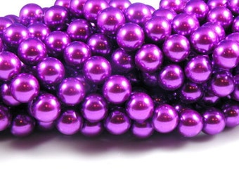 12mm Fiesta Purple Glass Pearl Beads - full strand 16 inch
