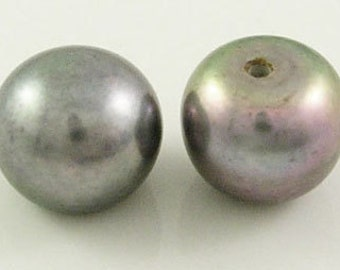 """Grade """"A"""" Freshwater Pearl Beads, Top Half Drilled, Flat Round, Peacock Blue, about 8.5x6.5mm thick, hole: 1mm - 4 pcs"""