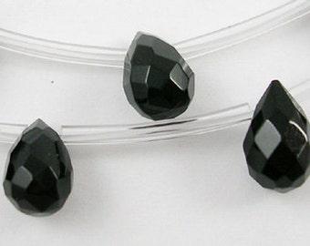 Black Faceted Glass Briolette Teardrops, 9x6mm - 12 pcs