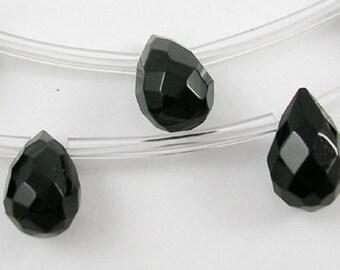 Black Faceted Glass Briolette Teardrops, 9x6mm - 1 strand 25pcs