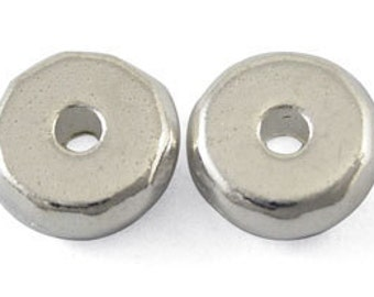 8x3mm Silver Plated Rondelle Spacer Beads, Lead and Cadmium Free - 24 pcs