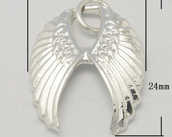 Joined Antique Silver Wing Pendant, Lead and Nickel Free, 20x24x3mm - 4 pcs