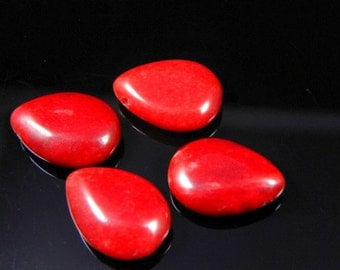 4pc- Deep Red Jade Candy Beads, Smooth Drop, 13x18x6mm