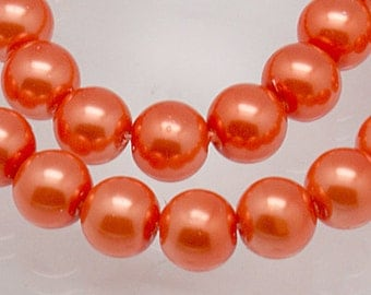 8mm Orange Glass Pearl Beads - 32 inch strand (approx. 110 beads)