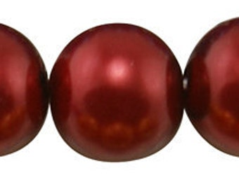 16mm Fire Brick Red Glass Pearl Beads - 12 pcs