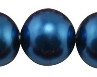 6mm Steel Blue Glass Pearl Beads - 32 inch strand