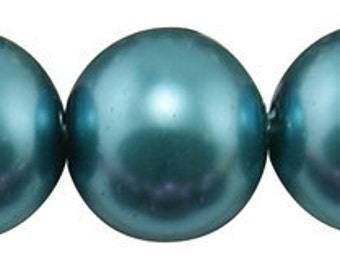 8mm Teal Glass Pearl Beads - 32 inch strand