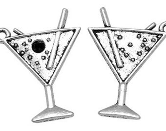 6 pcs - Antique Silver Martini Drink Charm Pendant 17mm -  Lead, Nickel and Cadmiun Free