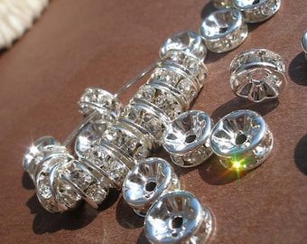 8mm Clear Crystal Rhinestone Spacer Beads - 10 pcs