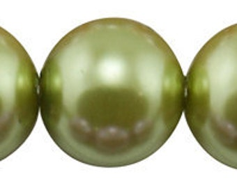 10mm Yellow Green Glass Pearl Beads - full strand 16 inch