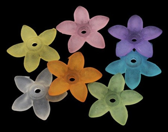 20 pieces -Large Frosted Matte Mixed Color Lucite Flower Beads - 17mm