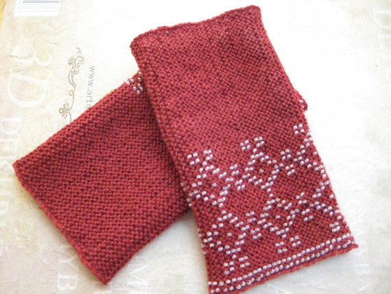 Hand knitted beaded claret red Lithuanian wrist warmers