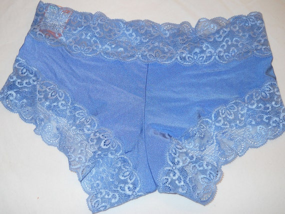 Personalized Bridal Blue lace boy short panties Size Medium ONLY