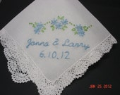 Something blue wedding handkerchief, hand embroidered, bouquet wrap. names and dates, wedding colors welcome, daisies,