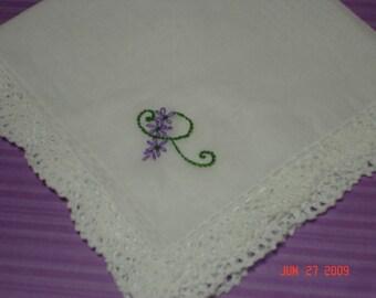 bridesmaid gift, wedding handkerchief, bridesmaid hankie, hand embroidered, flowery lettery, bouquet wrap, custom colors, wedding favor