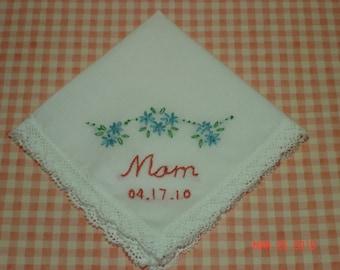 Wedding handkerchief/mother of bride/mother of groom/hand embroidered/ wedding colors welcome