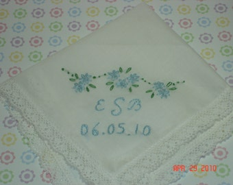 Something blue wedding handkerchief/initials and date/ hand embroidered/wedding colors welcome