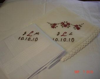 Wedding handkerchief/bride and groom hanky set/hand embroidered/wedding colors welcome/set of two hankies